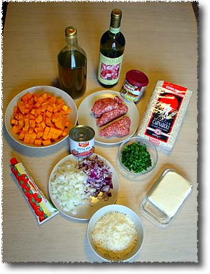 The Ingredients for Squash and Sausage Risotto