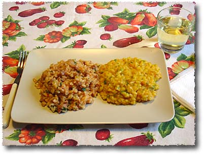 Risotto with Sausages, and Risotto with Squash