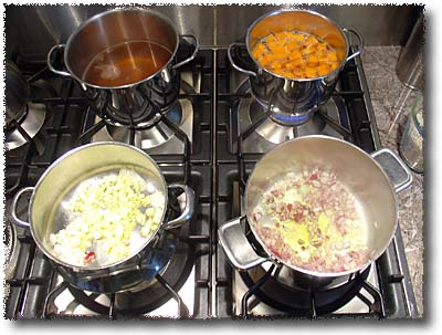Cooking Risotto: Heating Liquids & Sauteing Onions