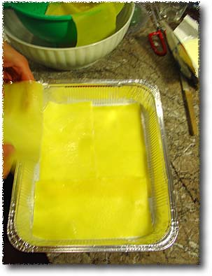Making Lasagna: The First Layer Of Pasta...
