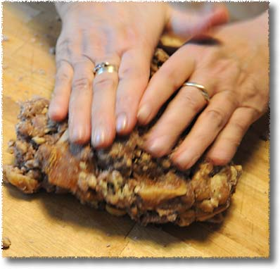 Making Judy's Panforte: Kneading nut Mixture