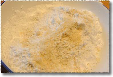 Making Ricciarelli: Combine Ground Almonds, Sugar, Bicarbonate, and Flour