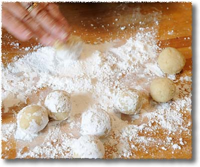 Making Ricciarelli: Roll Balls Of Paste In Sugar