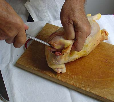 Boning a chicken: Cut the Shoulder Joint
