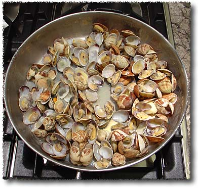 Preparing Live Clams: They Open