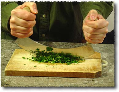 Making Clam Sauce: Chop Herbs