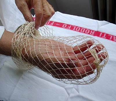 To Stuff a Boned Chicken: Turn the Mesh Bag Inside Out