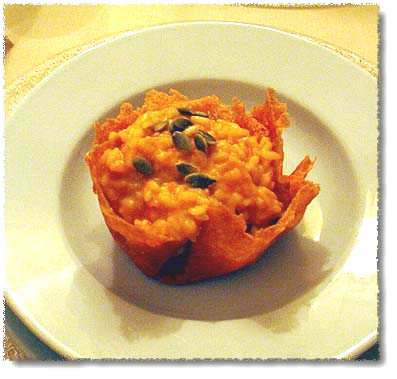 Risotto in a Cheese Basket