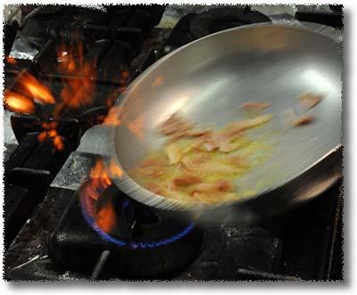 The Trattoria Alla Palma's Filini D'Erba: Sautè The Ham