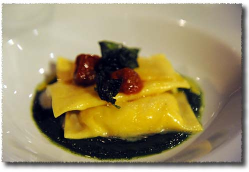 Ravioli Stuffed with Burrata on a Bed of Creamed Cabbage at the Gaudenzi Dinner
