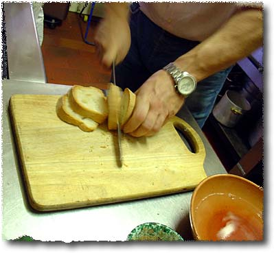 Making Panzanella: Slice the Bread