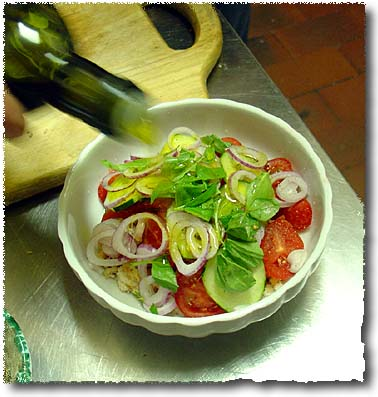 Making Panzanella: Onion, Tomato, Basil, Cucumber, Olive Oil...