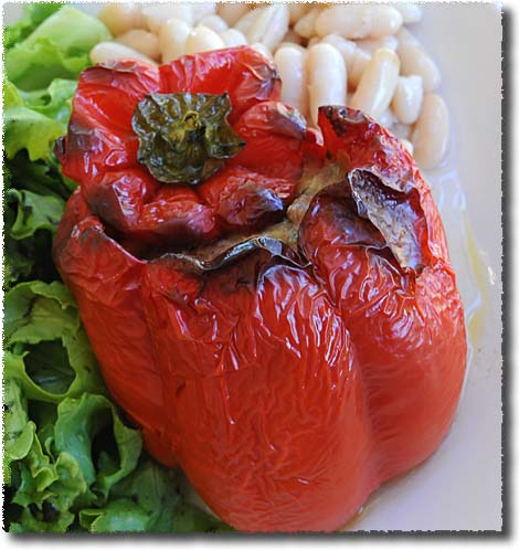 A Bell Pepper Stuffed with Sausage
