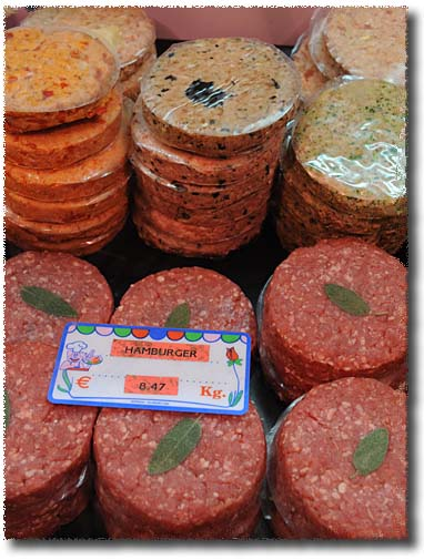 Burgers (in a variety of flavors) in an Italian Market
